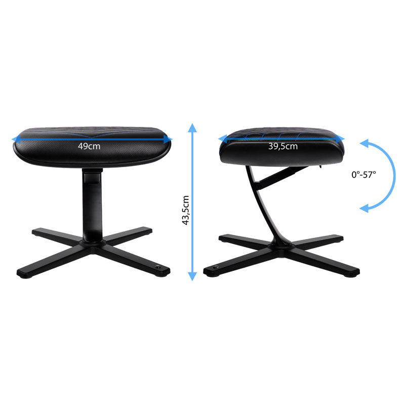 noblechairs Footrest - Faux Leather, Black/Blue