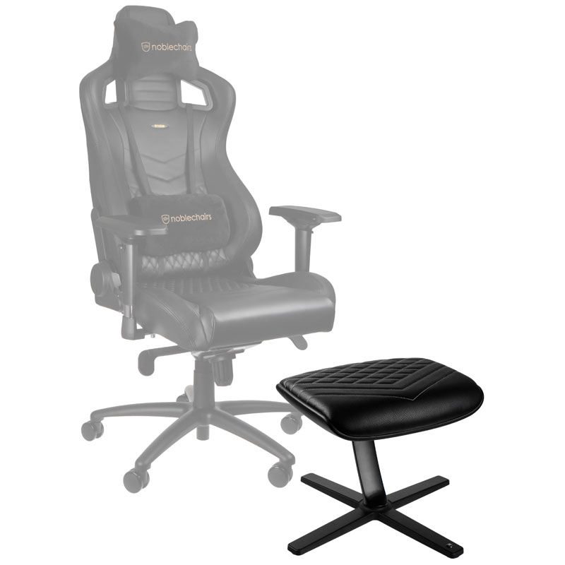 noblechairs Footrest - Faux Leather, Black/Platinum White