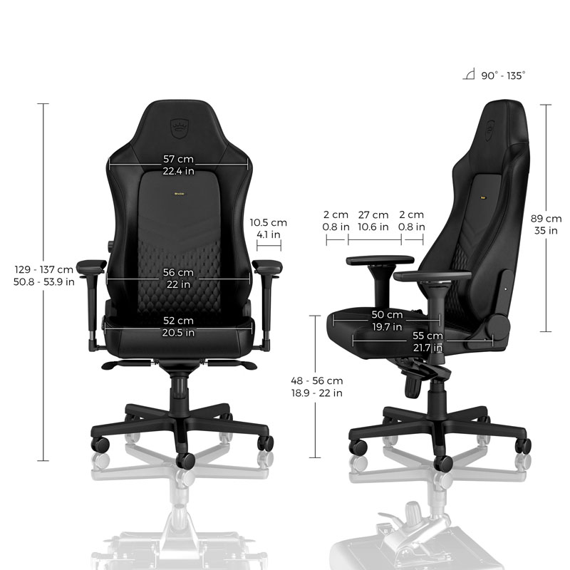 noblechairs HERO Series Real Leather, Black/Black