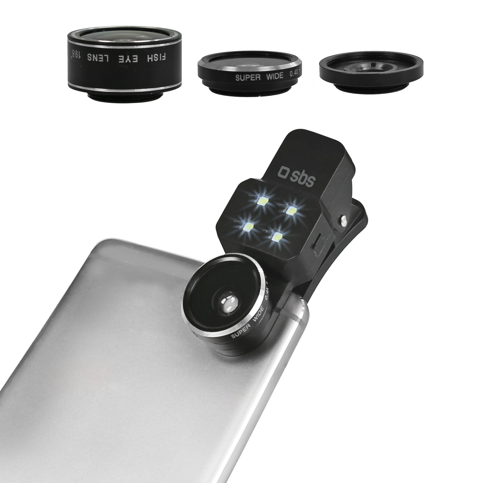 SBS Lens Kit 3 in 1 universal for Smartphone with single camera (Fish Eye, Macro, Wild Angle)