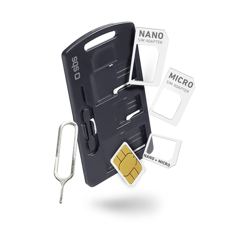 SBS Adapter kit for sim mobile phones and smartphones, includes adapter Nano/Micro-SIM Micro/Normal-sim Nano/normal-sim, key